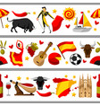 spain seamless border spanish traditional symbols vector image vector image
