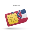 State of Mississippi phone sim card with flag vector image vector image
