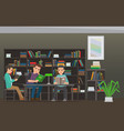 students reading textbook in library flat vector image vector image