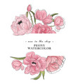 tender peony drawing banner flower composition vector image vector image