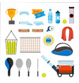 tennis icons set tennis accessories vector image vector image
