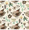 tribal bird seamless pattern vector image