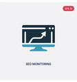 two color seo monitoring icon from programming vector image