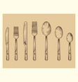 vintage cutlery set design hand drawn vector image vector image