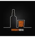 whiskey glass bottle menu background vector image
