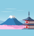 mount fuji and arakura sengen jinja shinto shrine vector image
