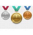 olympic gold silver and bronze award medals vector image