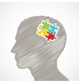 sketch man s face with puzzle pieces in his head vector image