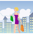 woman shopping girl with shopping bags walking vector image