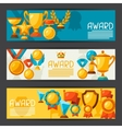 Sport or business banners with award icons vector image