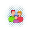 Family icon in comics style vector image