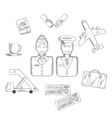 Air traveling and aviation icons set vector image vector image