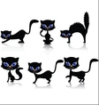 black cat cartoon collection vector image vector image