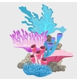 Blue purple and pink variety of corals bouquet vector image