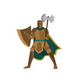 brave warrior stands in an open pose holding an vector image vector image