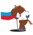 Cartoon horse with the flag of Russia 012 vector image