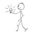 cartoon man or businessman holding shining vector image