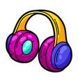 cartoon musical headphones vector image vector image