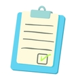 Checklist on a clipboard icon cartoon style vector image