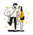 couple walking who is holding hand vector image