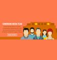 coworking media team banner horizontal concept vector image vector image