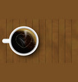 cup of coffee with heart on a wooden background vector image vector image