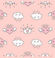 cute seamless pattern with hearts and love doodles vector image vector image