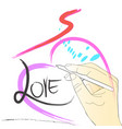 drawing painting brush stroke heart love speed vector image