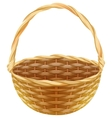 Empty wicker basket Wicker basket made of straw vector image