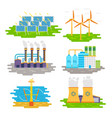 energy producing stations infographic elements vector image vector image