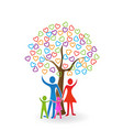 family and heart tree icon vector image