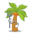 farmer palm tree character cartoon vector image