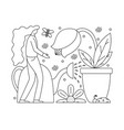 flat girl taking care of plants vector image vector image