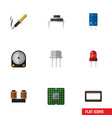 flat icon electronics set of coil copper resist vector image vector image