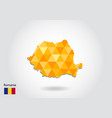 geometric polygonal style map of romania low poly vector image vector image