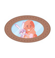 girl with bunny toy photo frame vector image