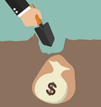 Hand dig a ground to find a treasure vector image vector image