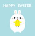 happy easter bunny rabbit holding chicken baby vector image vector image
