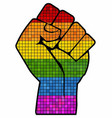 lgbt protest fist in mosaic vector image vector image