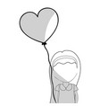 line pretty girl with hairstyle and heart balloon vector image vector image