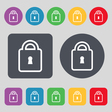 Lock icon sign A set of 12 colored buttons Flat vector image vector image