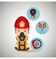 man firefighter call 911 alarm vector image