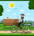 man on bicycle with bench and city park on vector image vector image