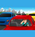 man stuck in traffic vector image vector image