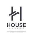 minimalist home logo from letter h vector image vector image