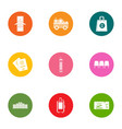 mission icons set flat style vector image vector image