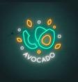 neon avocado sign glowing avocado fruit emblem in vector image vector image