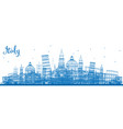 Outline italy skyline with blue landmarks