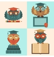 Owls in graduation caps set flat vector image vector image