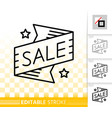 sale market banner simple black line icon vector image vector image